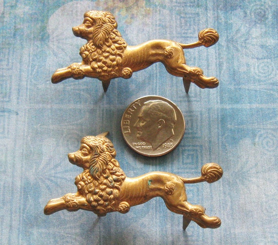 Vintage Brass French POODLE DIY Jewelry Component Couture Embellishment Finding Steampunk Altered Art Zappa