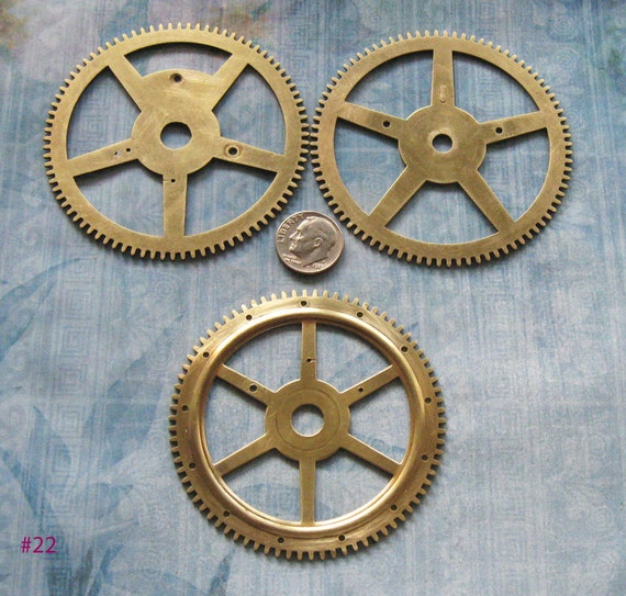 ANTIQUE CLOCK WHEEL Parts Vintage Brass Pocket Watch Clock Gear Movement Part Jewelry Altered Art Assemblage Steampunk Diy Pendant