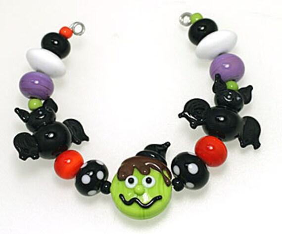 LeahBeads - Frankenfurter Halloween Lampwork Beads