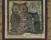 Solemn Owl Momma and Owlet Blockprinted Greeting Card