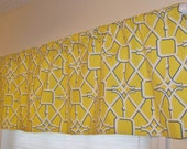 Trellis Window Valance Waverly NETWORK Trellis Pattern in the Sunshine Yellow, Blue,  & White Colorway