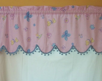 Custom Boutique Girls Butterflies Flowers and Bees Window Valance CLEARANCE SALE