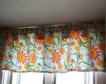 Window Valance Azure FLOWER TWIRL Whimsical Floral made with Robert Allen/Susan Sargent Fabric