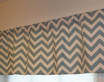Chevron Window Valance made in Natural and Village Blue Zig Zag Hooty Collection Fabric NEW SALE PRICE!