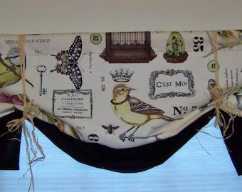 Botanical Window Valance Banded Hem Tie Up Style made with WING STUDY Botanika Fabric
