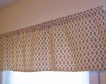 CLEARANCE SALE! Custom Window Valance Waverly ELLIS Trellis Pattern in the Hemp Tan Brown Colorway