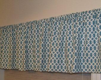 Custom Window Valance Waverly ELLIS Trellis Pattern in the Turquoise Blue & White Colorway
