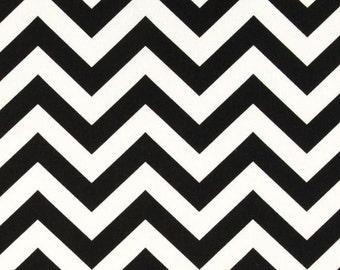 Black Chevron Window Valance Custom Made in Ebony Black and White Zig Zag Fabric NEW REDUCED PRICE!