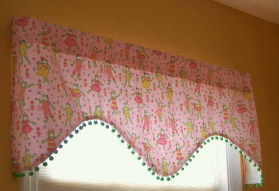 CLEARANCE SALE Custom Boutique Pink Kelly Rightsell Fashion Frogs Window Valance with Pom Fringe