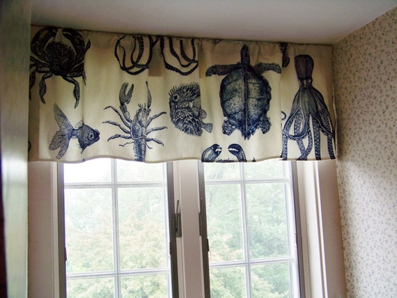 Beach Window Valance Sea Life Octopus Crab Lobster and Turtle made with OCEANIA by Thomas Paul Fabric in Indigo/Cobalt Blue and Cream