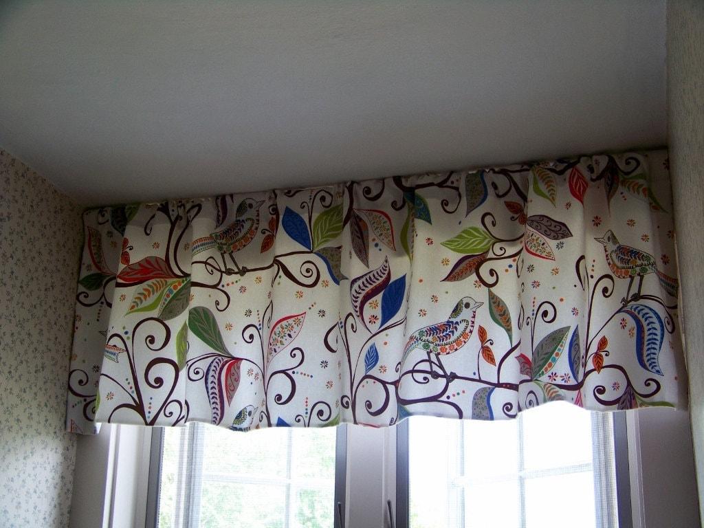 Window Valance Wrenly Modern Folk Art Birds In Gypsy Multi