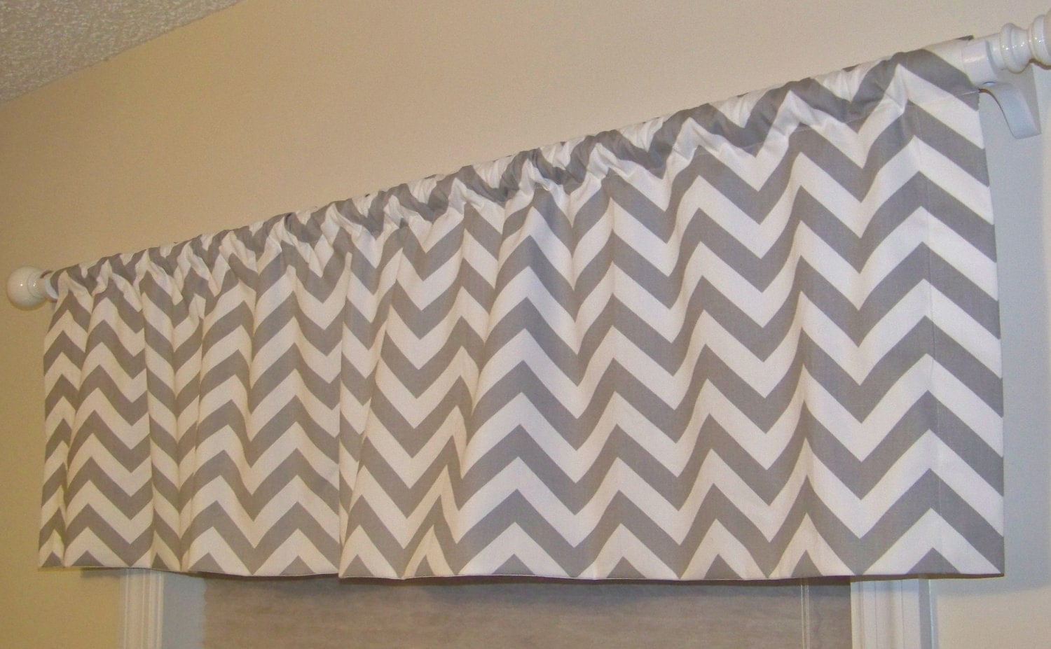 Grey Chevron Window Valance Made in Storm by MissMuffetsTuffet