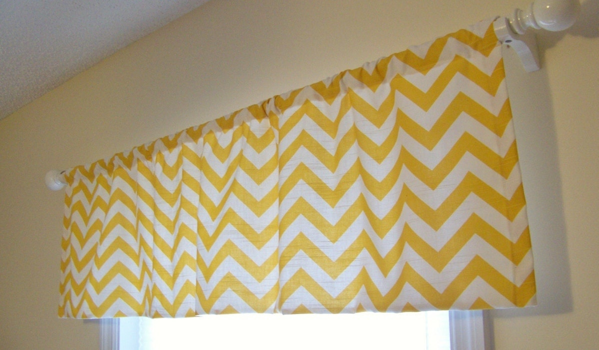 NEW SALE PRICE Yellow Chevron Window Valance by MissMuffetsTuffet