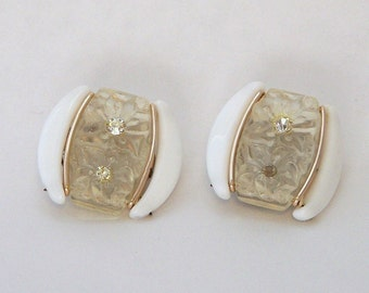 White Clear and Rhinestone Clip Earrings Marked West Germany