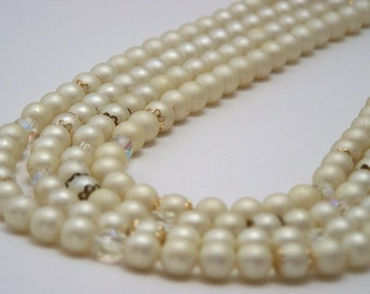 Vintage Statement Necklace Pearl and Crystal