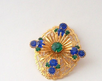 Vintage Brooch with Green and Blue Rhinestones