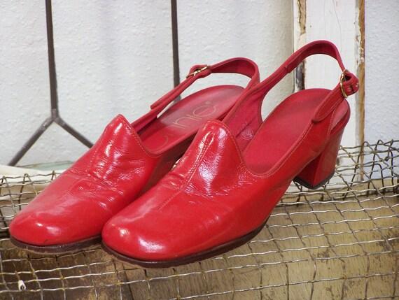 Vintage Red Slingback Heels 7