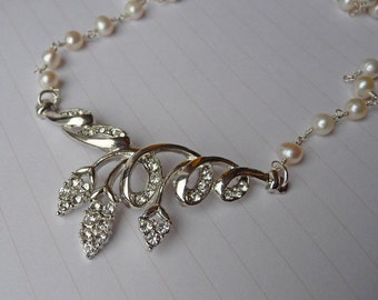 50% off CLEARANCE Freshwater Pearl and Diamonte Swirling Leaf Necklace, sterling silver, white, rosary style, white