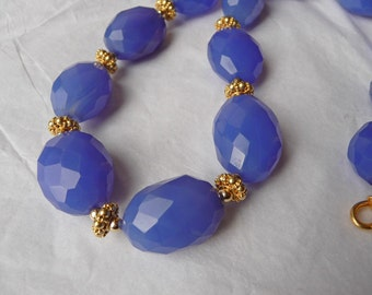 Blueberries and Gold - Blue Chalcedony and Gold Vermeil Necklace