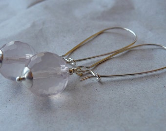 Faceted Rose Quartz Sterling Silver Earrings, Bauble, Hooks, Long, pink, candy, bubble