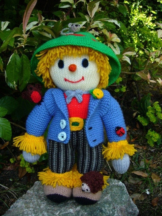 Sam Scarecrow and Little Friends Handknitted Doll