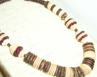 VINTAGE NECKLACE                                  CARVED   WOOD AND VEGETABLE BEADS                           early