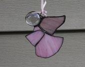 Pink Angel Stained Glass Suncatcheror Christmas Tree Ornament
