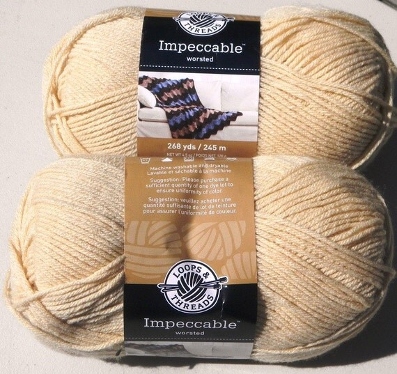 TWO SKEINS LOOPS and THREADS IMPECCABLE WORSTED WEIGHT YARN