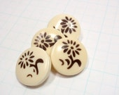 Vintage Stencilled Buttons, Brown Flowers, Shank,  fe63