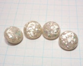 Confetti Buttons, Lucite, Pearl Flecks, 1960s, White,  Sewing Buttons, fe532