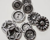 Metal Flower Buttons, Vintage, Silvertone, Mix,  jaa156