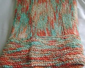 Extralarge Coral and Turquoise Cotton Baby Blanket