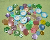 Vintage Plastic Buttons Fun Colors