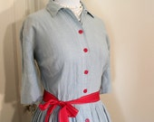 SALE - 50s Dress Light Blue and Red Buttons - Denim - Large