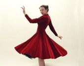 50s RED Dress - Anne Fogarty Velvet Cocktail Dress - SM