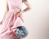 50s Dress - Pink Stripe Sundress with Floral Embroidery - Full Skirt - Small