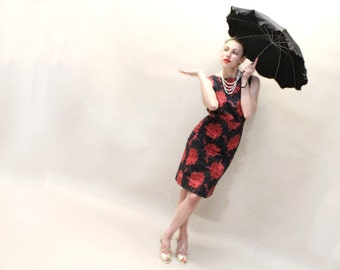 50s Wiggle Dress - Black and Red Floral Cotton Dress - Sleeveless - SMALL