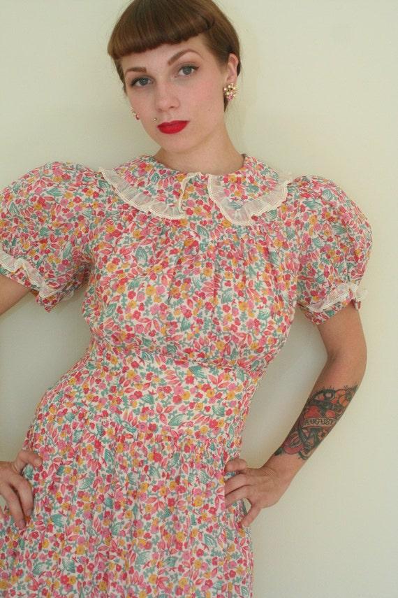 30s Pink Floral Sheer COTTON Dress - Lrg