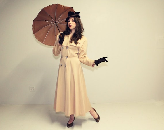 40s 50s LILLI ANN Coat - Fit n Flare Trench - Double Breasted Jacket - SM