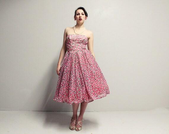 50s Strapless Dress - Pink Floral - Boned Bodice - SM