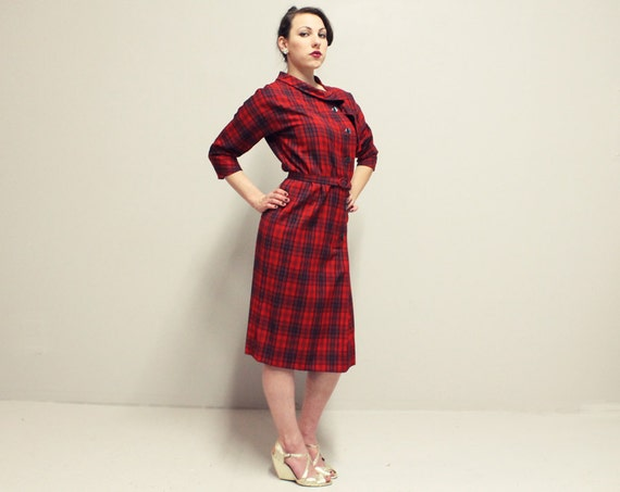 50s Wiggle Dress - Red Blue and Green Plaid - Med Lrg