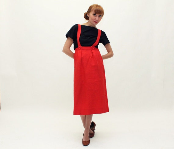 40s 50s Skirt Jumper - Red Linen Pinafore - Small
