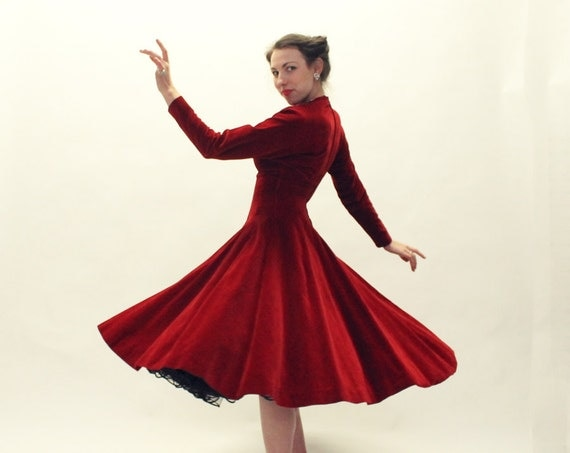 50s RED Dress - Anne Fogarty Velvet Cocktail Dress - SM