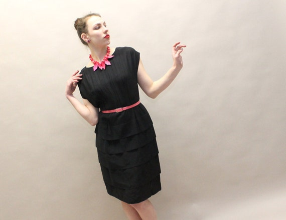 50s Black Dress - Rayon Crepe Cocktail Party Dress - Forever Young - Large