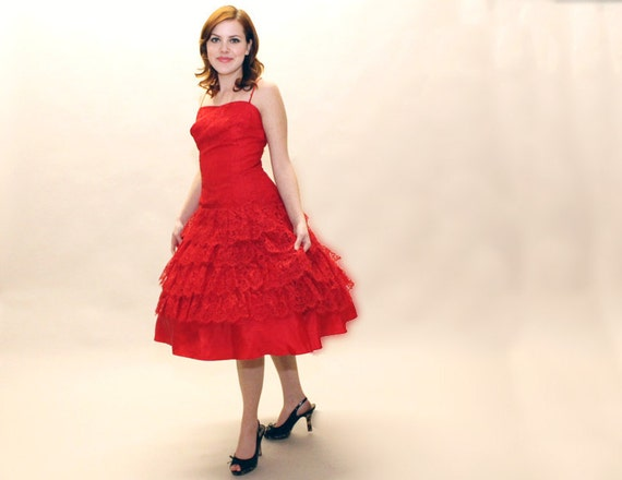 RESERVED 50s RED Dress - Full Skirt Lace Cocktail party Dress - Small