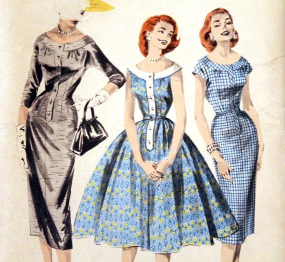50s Dress Pattern - Butterick 8058 - Full or Wiggle Dress - Size 14 - FF