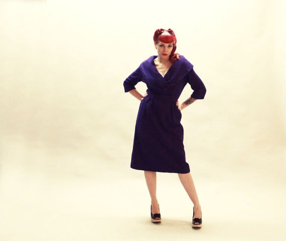 50s Wool Dress - Purple Wide Collar Wiggle Dress - Large XL