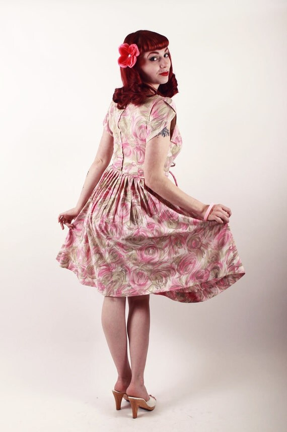 50s Dress - Pink and Tan Floral Cotton with Matching Belt Full Skirt - Medium