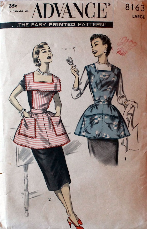 50s Sewing Pattern Advance 8163 Printed Apron Pattern Smock Size Large