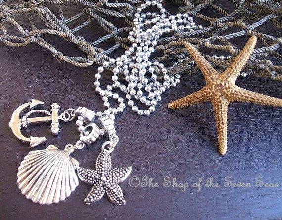 Pewter Scallop Shell Anchor Starfish Charm Necklace Jewelry FREE US SHIPPING